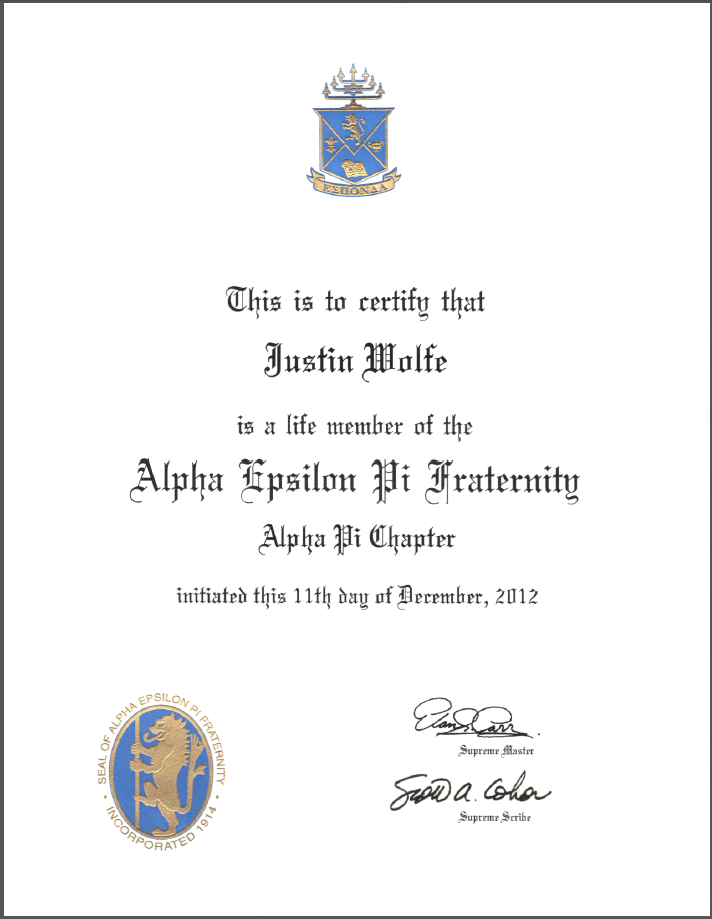 Fraternity Certificate